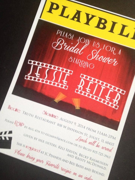 Playbill Invitations Broadway theme Bridal Shower by ...