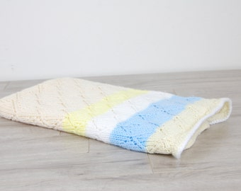 Hand Crocheted Knit Ultra Soft Cream, White, Yellow & Blue Baby Blanket