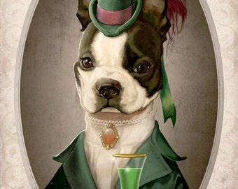 Abigale the Boston Terrier Art Victorian Lady Steampunk Abstinthe Illustration Painted Bar Portrait Poster Print - 4 sizes available