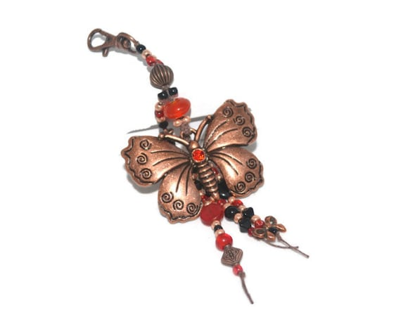 Gorgeous Copper Butterfly Keychain Purse Jewelry  Gifts Under 20 OOAK Handmade Lovely Copper Beaded KeyChain Unique
