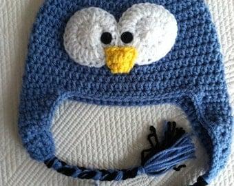 Blue Penguin Hat, Child Animal Hat, Penguin Hat, Crochet Baby Hat, Winter Hat, Baby Hat, Newborn Hat, Child Hat