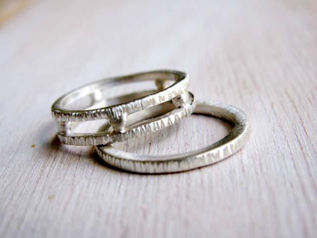 Grecian Geometrical Wedding Bands Set Of Two Organic