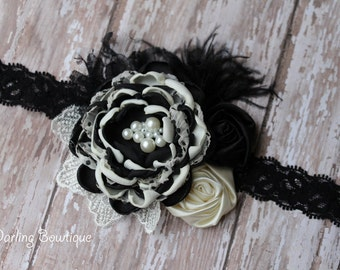 Black and Ivory Rosette and Singed Flowers on Black Lace Elastic Headband