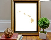 Hawaii State Print, HI, State Art, State Map, State Silhouette, Instant download, State art print, state wall art, bokeh