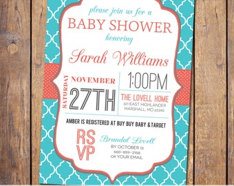 Girls baby shower invitations, printable, modern baby shower invite, aqua and coral, polka dots, Digital, Printable file (item313)