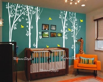 birch tree wall decals children baby boy girl nursery wall decal wall sticker Kids room decal decors wall mural -Tree with Flying Birds