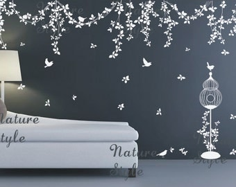 Abstract Flowers with Flying Birds-branch wall decal nursery wall decals bedroom vinyl vine wall sticker birdcage birds wall decal mural