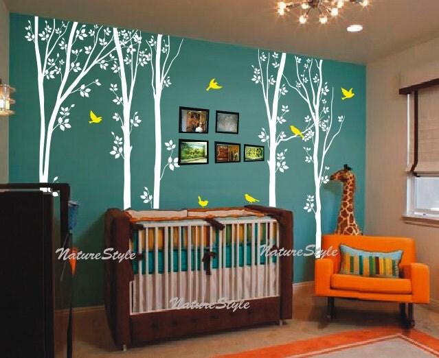 Birch tree wall decals children baby boy girl nursery wall for Baby room tree mural