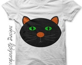 Black Cat Iron on Transfer - Iron on Kids Shirt / Baby Halloween Outfit / Toddler Black Cat Clothes / Halloween Children's Clothing IT309-P