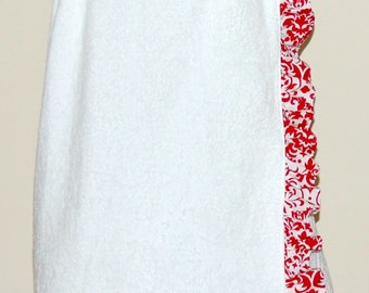 Monogrammed Towel Wrap with a Red and White Damask Ruffle