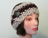 Chunky Knit Headband Heather and Wine