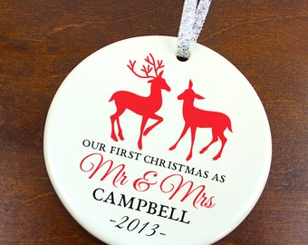 Our First Christmas as Mr and Mrs Ornament - Deer - Personalized Porcelain Newlywed Holiday Ornament  - Just Married - orn124 - Custom Color