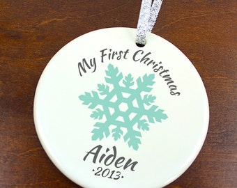 My First Christmas Ornament - Snowflake - Newborn New Baby - Personalized Name Porcelain Holiday Ornament - orn133 - Peachwik - Custom Color