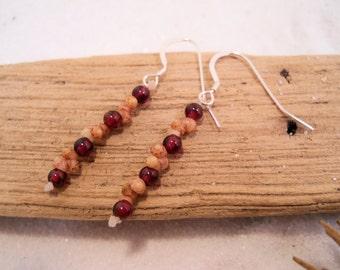 Kahelelani Shell Earrings - Garnet Earrings - Hawaiian Jewelry - Rare Earth Jewelry - Rare Hawaiian Seashells - Shell Jewelry - Eco Friendly