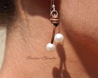 Freshwater Pearl and Leather Earrings - 2 Pearl Drop  - Pearl and Leather Jewelry - Christine Chandler - Leather Jewelry - Leather Earrings