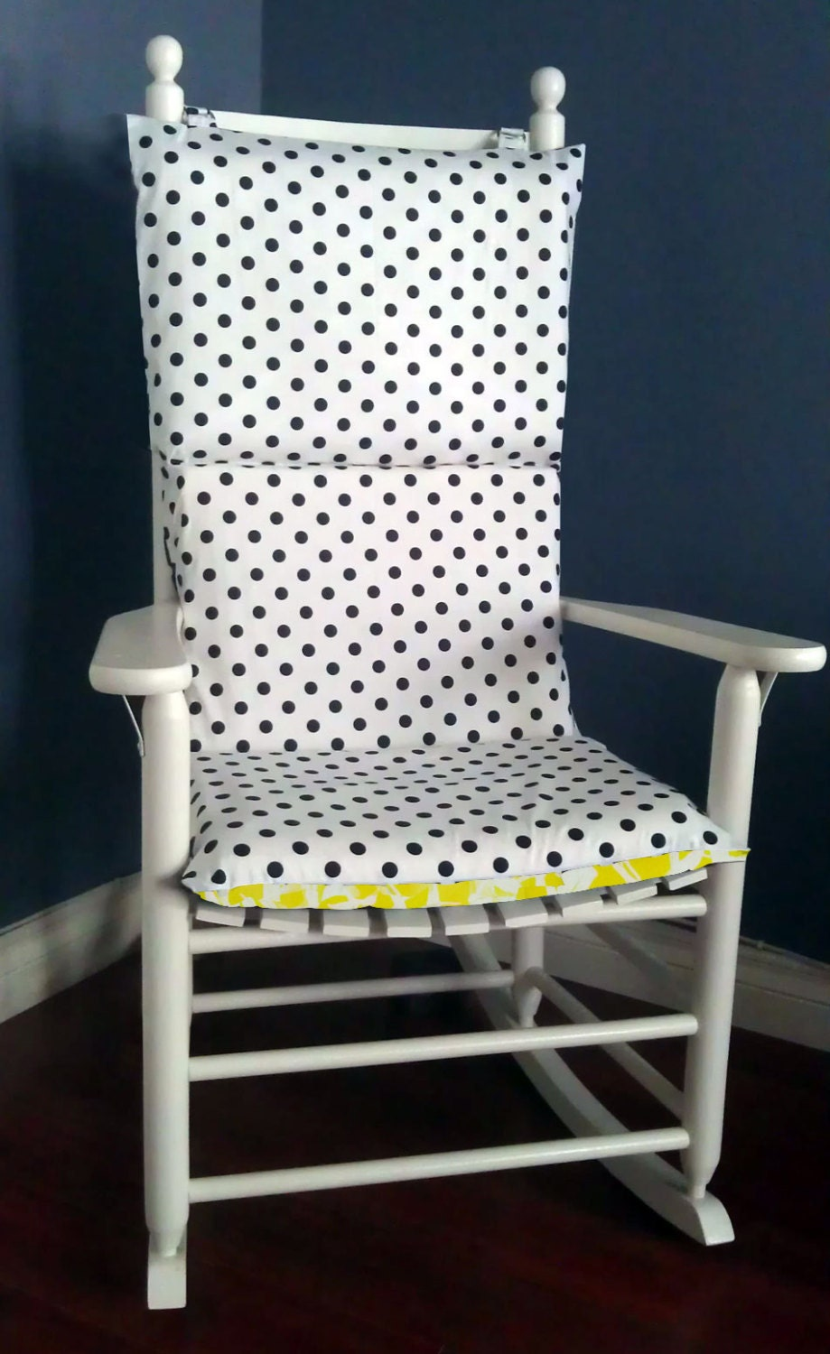 on sale rocking chair cushion navy polka dot yellow bamboo. Black Bedroom Furniture Sets. Home Design Ideas