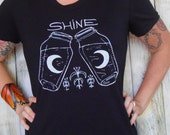 Womens Fitted T Shirt - Moonshine S M L XL - Hand Screen Printed On American Apparel