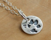 Custom Paw Print Necklace - Personalized Charm Necklace In Fine Silver - Joey Necklace