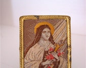 Petite  Antique German Hand stitched ST THERESE Framed Shrine Nicho-  A true treasure for any collector.