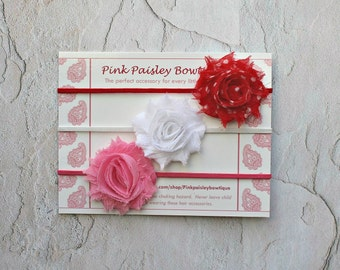 Baby Gift Set - Baby Headband - Pink Red White Shabby Headbands - Baby Bow Headband - Infant Headbands Newborn Headband