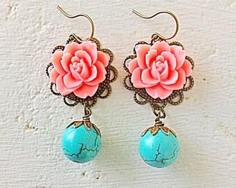 Coral Pink Earrings/Turquoise Earrings/Coral and Turquoise Earrings/Romantic Rose Earrings/Rustic Wedding Earrings/Bridesmaid Earrings