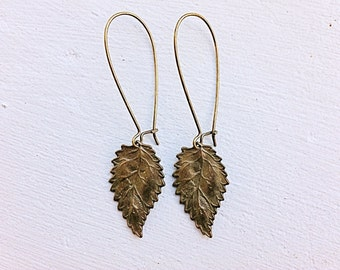 Bronze Leaf Earrings/Leaf Earrings/Woodland Earrings/Nature Earrings/Boho Earrings/Rustic Wedding Earrings/Long Leaf Earrings/ Gifts For Her