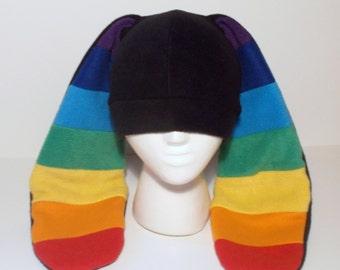 Extra Long Eared Rainbow Bunny Hat