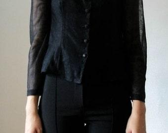 SALE Vintage 80s sheer floral button down blouse size S