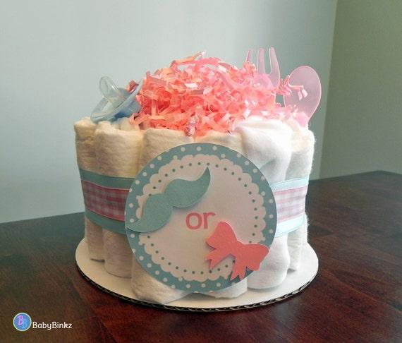 gender reveal diaper cake one tier baby shower gender reveal gift or
