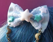 Baby Blue Pastel Stars Bow