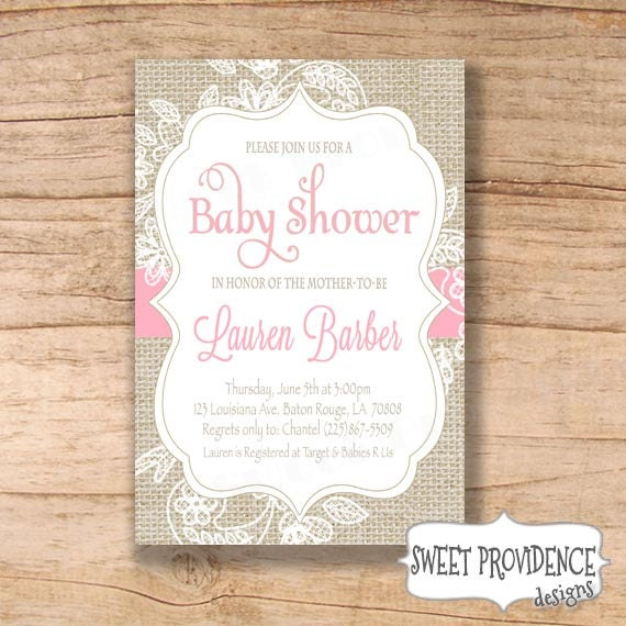 burlap and lace baby shower invitation pink burlap lace baby shower