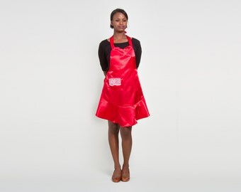 Satin Women's Apron - Red