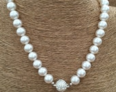 BRIDAL Necklace - Swarovski Crystal Pearls w/ Magnetic Rhinestone Clasp - Wedding - Choose Pearl Color (White Shown) and Length - USA Made
