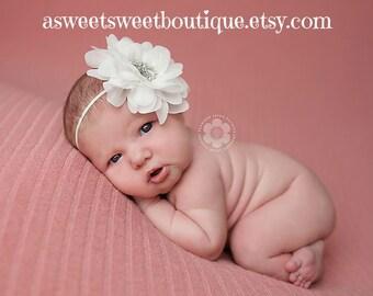 White Headband White Baby Headband White Newborn Headband Christening Headband Baptism Headband White Baby Girl Headband Newborn Photo Prop