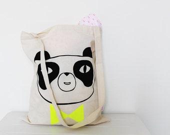 Screen printed panda tote bag - Boy