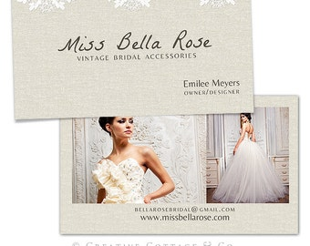 Bella Rose- Shabby Vintage Lace Business Card Template PSD file, WHCC Spec