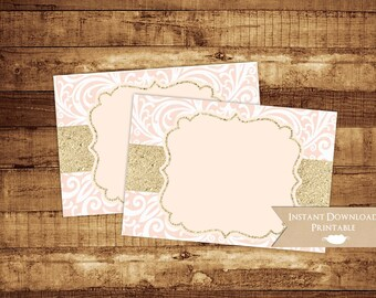 Baby or Bridal Shower Blush and Gold Glitter Damask Printable Buffet Food Card Labels INSTANT DOWNLOAD Favor Tag Sticker