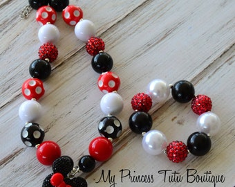 Minnie Mouse Necklace Minnie Mouse Chunky Necklace and Bracelet