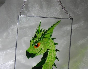 Hand painted Green dragon window decoration * Ready to ship *