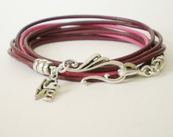 pink leather wrap, personalized leather charm bracelet, boho chic cuff, rocker style, stacking bracelet