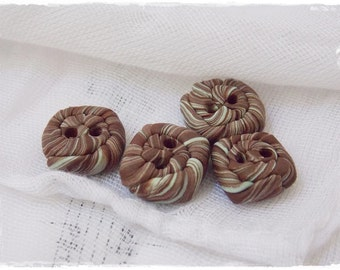 Mint Green & Brown Buttons, Polymer Clay Buttons, Tiny Square Buttons, Small Clay Buttons, Green Buttons, Square Buttons, Knitting Supplies