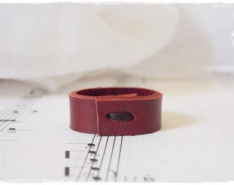 Vampire Ring, Wine Red Ring, Burgundy Leather Ring, Goth Leather Band, Gothic Ring, Nordic Leather Ring, Blood Red Ring, Men's Leather Band