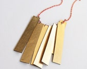Gold boho necklace, leather necklace, minimal necklace, geometric necklace, red and gold, fringe necklace, summer trends, trending jewelry