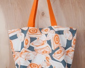 Turntable Tote Bag- Christmas Present- Tote bag- Canvas tote- Orange and slate-  by beckyzimmdesign
