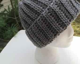 Crocheted Hat  - Gray - Beanie, Cloche, Watch Cap, Brim Hat