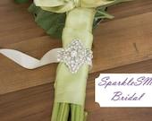 Rhinestone Bridal Bouquet Wrap, Crystal Wrap, Beaded Floral Wrap, Bridal Bouquet, Wedding Flowers, SparkleSM Bridal Sashes - Hadley