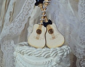 Guitar wedding cake topper-musician-ivory veil-ivory-wedding cake topper-guitar-music-instrument-musical-guitar wedding-rock star
