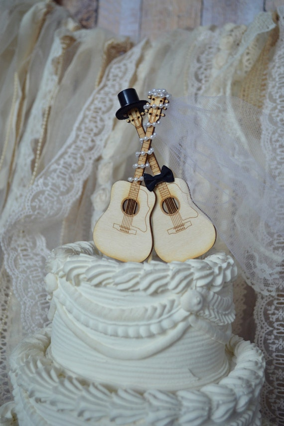 Guitar Wedding Cake Topper Musician Ivory Veil
