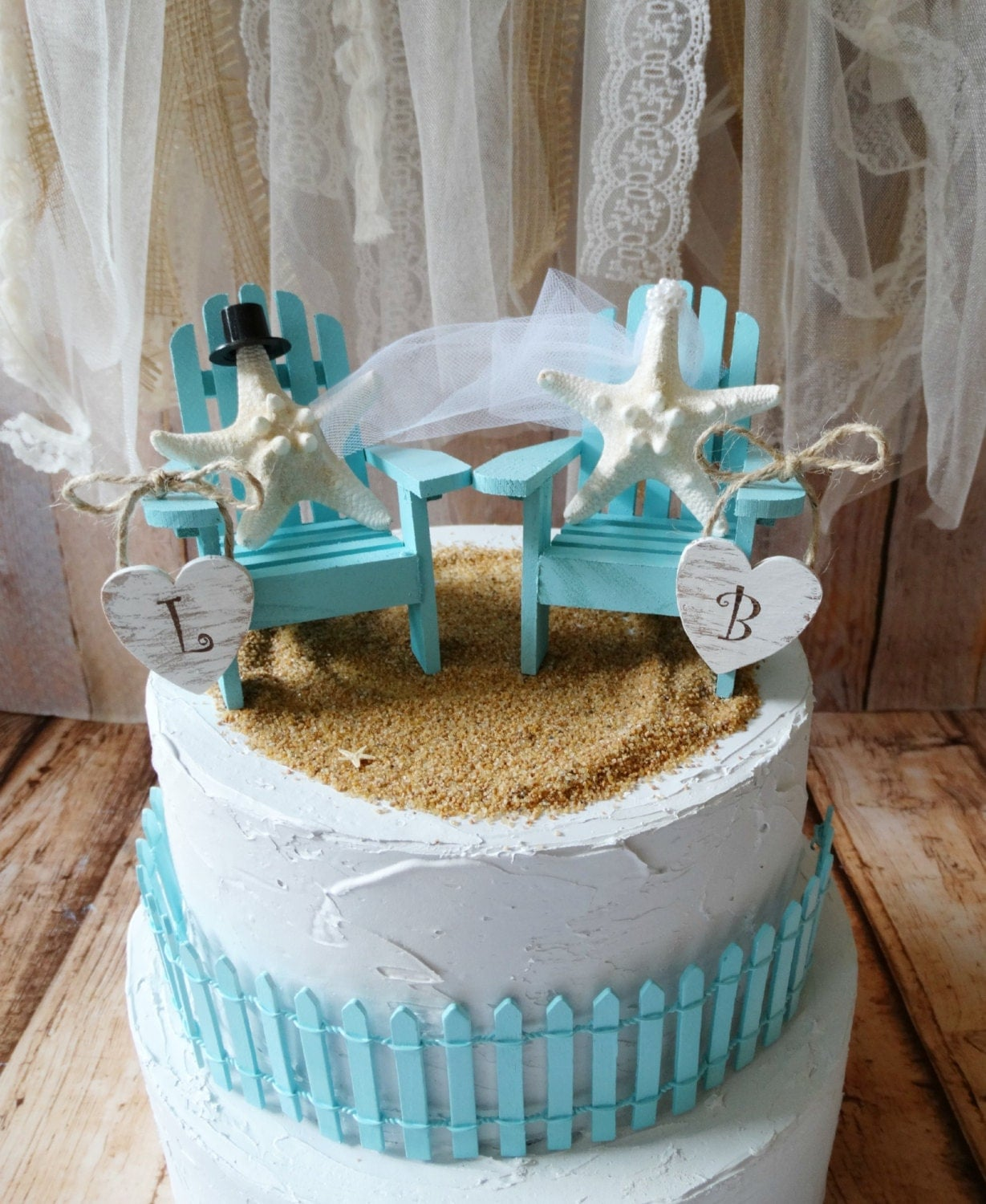 beach chairs beach wedding cake