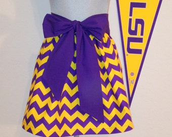 Cute LSU Chevron Print  Gathered Skirt Medium Only